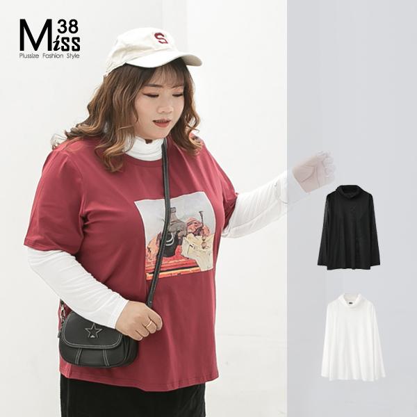 Miss38-(現貨)【A00955】大尺碼長袖內搭上衣 堆堆高領套頭打底T恤 透氣網紗 穿搭必備-中大尺碼女裝