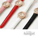 活動式水鑽奢華鱷魚皮典雅手錶4色~fun...