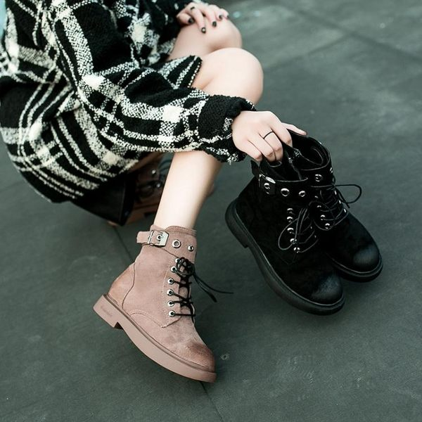 春秋馬丁靴女英倫風學生韓版百搭靴子短筒小短靴