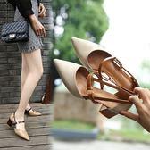 韓版中跟粗跟單鞋一字扣帶尖頭高跟鞋2018春夏新款瑪麗珍包頭涼鞋