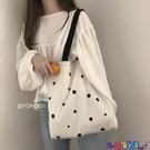 帆布包 YOHOO!/ 韓系chic可愛波點百搭側背帆布包購物袋手提學生書包女寶貝計畫 上新