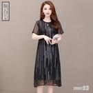 雪紡連身裙子2020夏季新款大碼貴夫人媽媽洋裝遮肚子顯瘦洋氣T恤裙子 LR23377『Sweet家居』