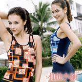 仙仙小舖 SQ13055黑/藍 連身式泳裝 鋼圈比基尼泳衣溫泉SPA泡湯