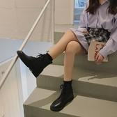 短靴 ins馬丁靴女英倫風透氣學生黑色短靴女薄款機車靴百搭復古夏季潮 (快速出貨)