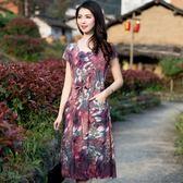 2019新款中老年女裝棉綢連身裙大碼修身媽媽裝短袖夏裝印花長裙子