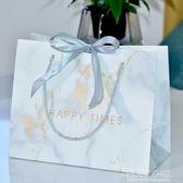 10個裝 ins風禮品袋大理石紋包裝袋商務禮物袋婚慶喜糖袋定制服裝店紙袋 polygirl