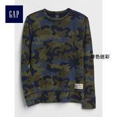 Gap男童 印花圓領長袖T恤 370736-綠色迷彩