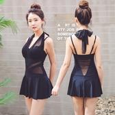 韓國泳衣女連身裙式平角游泳衣小胸聚攏性感顯瘦遮肚修身溫泉泳裝『櫻花小屋』