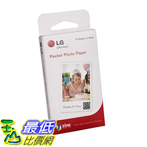 [106美國直購] LG 相片印表機相片紙 LG Electronics Pocket Photo Paper for Pocket Photo Printer, 30 Sheets, 2x3""