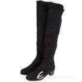 Stuart Weitzman RESERVE 麂皮拼接過膝長靴(黑色) 1530379-01
