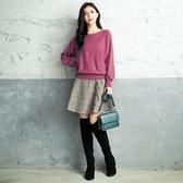 秋冬新品[H2O]連袖後綁帶設計柔軟兔毛毛衣 - 綠/白/桃紅色 #0630002