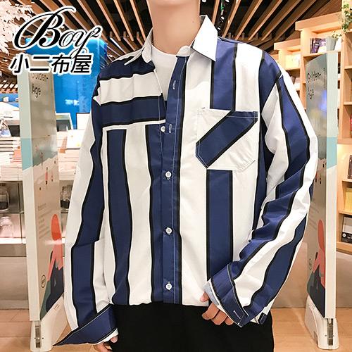 情侶襯衫 幾何條紋口袋長袖襯衫外套【NLJDYN-1809】