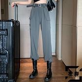 高腰垂感休閒褲束腳褲工裝褲女夏季寬鬆薄款褲子【左岸男裝】