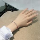手鍊女清新水晶小米粒珍珠手鍊女天然珍珠甜美閨蜜生日禮物