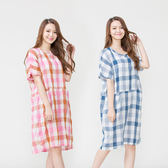 【Wonderland】透氣舒爽格紋居家休閒洋裝2件組