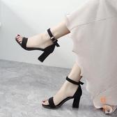 羅馬鞋高跟女鞋一字扣帶涼鞋女粗跟百搭中跟【橘社小鎮】