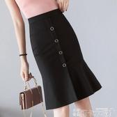魚尾裙半身裙流行裙子春顯瘦高腰中長款花瓣荷葉邊單排扣夏天-可卡衣櫃