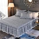 【限時下殺89折】床裙 全棉夾棉床群單件加厚定做棉質床裙式床罩保潔墊1.5m1.8米