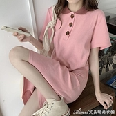 Polo裙夏季新款韓版polo領長款t恤裙寬鬆減齡顯瘦學生氣質洋裝女 快速出貨