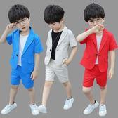 時尚百搭夏季男童短袖西裝套裝韓版3歲男孩主持人兒童禮服表演出服 卡米優品