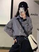 條紋襯衫女設計感小眾秋冬2019韓版拼接假兩件一體長袖上衣襯衣潮