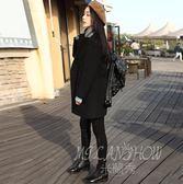 外套 大衣 黑色中長款 韓版矮個子風衣