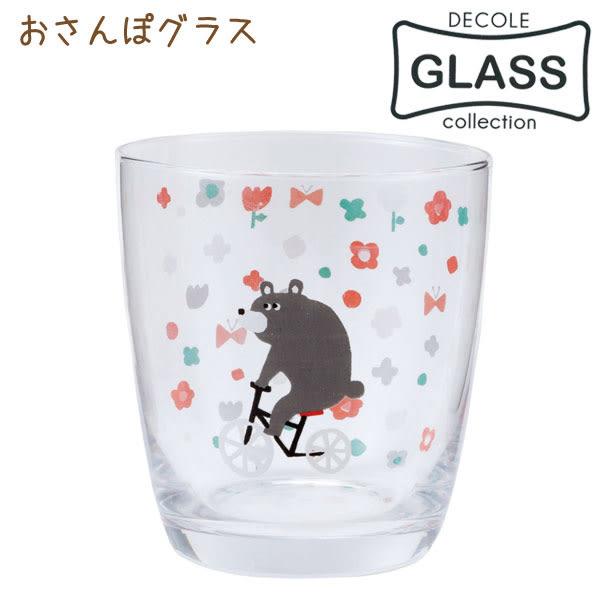 Hamee 日本 加藤真治 DECOLE 日式雜貨 透明玻璃杯 酒杯 水杯 飲料杯 (花園棕熊) 586-134651