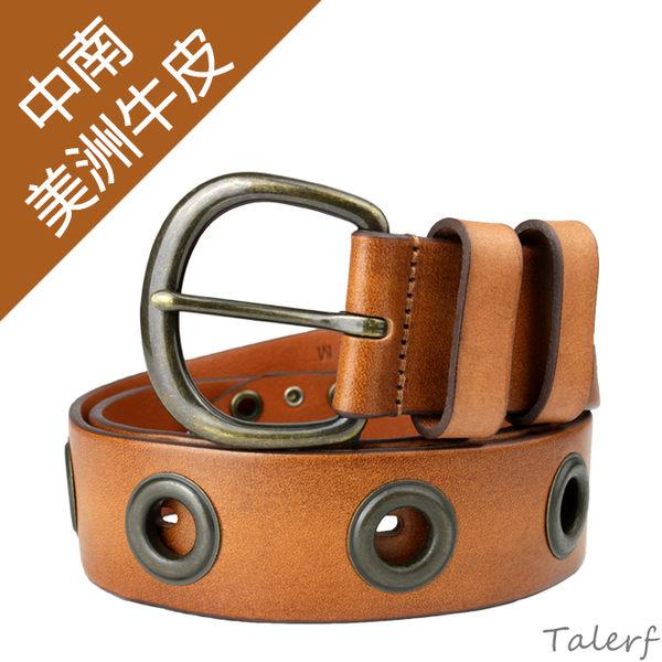 TALERF重金屬個性牛仔皮帶(棕色/共2色)-女 /真皮 牛皮/台灣製造