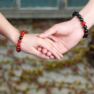 天然紅瑪瑙黑曜石手鏈