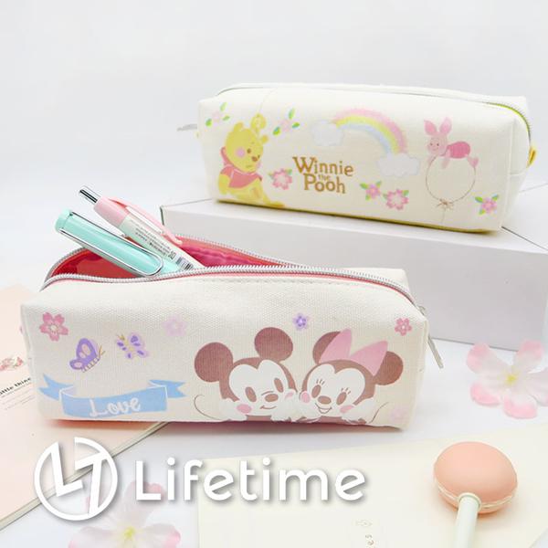 ﹝迪士尼櫻花帆布方型筆袋﹞正版 鉛筆盒 收納袋 袋子 文具 米奇 維尼〖LifeTime一生流行館〗