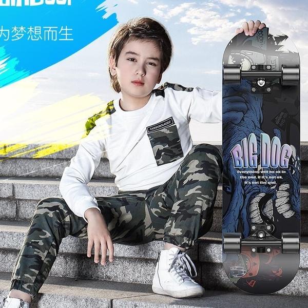 滑板 滑板四輪滑板車初學者青少年兒童專業板男孩女生雙翹短板成人全能【快速出貨八折下殺】