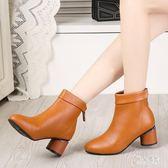 秋款女士短靴粗跟秋季新款矮靴秋冬款少女氣質桔色小皮鞋半高跟 DN21827『男神港灣』