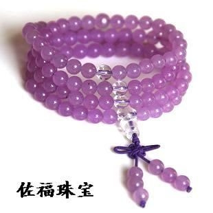 開光 水晶紫玉髓 佛珠手鏈 108顆