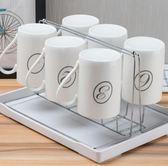 水杯 套裝 客廳 6只裝家用冷水壺耐高溫 數字杯 有把白瓷杯簡約 aj7299『小美日記』