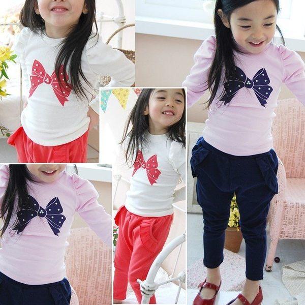 可愛《蝴蝶結印花》甜美長袖上衣
