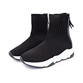 MICHELLE PARK 運動風 ‧ 針織拼接後拉鍊襪靴〈黑〉