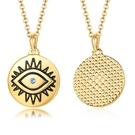 《QBOX 》FASHION 飾品【CNC-491】精緻個性上帝之眼鑲鑽金色圓形鈦鋼墬子項鍊/掛飾