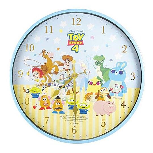 〔小禮堂〕迪士尼 玩具總動員 連續秒針圓形壁掛鐘《綠金.Q版》時鐘 4548626-09738
