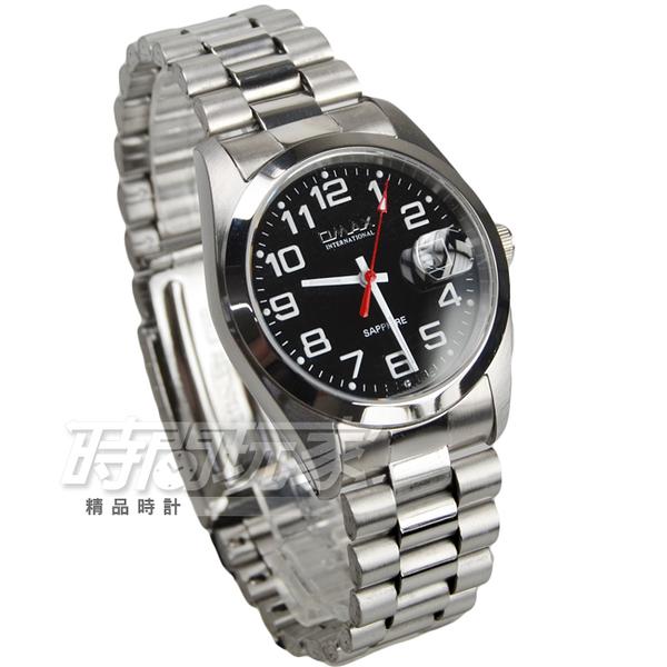 OMAX 時尚城市數字圓錶 不銹鋼錶帶 藍寶石水晶鏡面 放大鏡日期顯示窗 男錶 OM4002M黑大