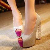 水晶跟高跟鞋粗跟恨天高銀色魚嘴鞋性感夜店魚口超高跟鞋子女單鞋梗豆物語