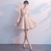 洋裝小晚禮服裙女2019新款短款高貴優雅宴會派對姐妹團伴娘服名媛Mandyc