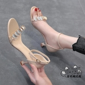 高跟鞋 一字帶涼鞋女2020年新款夏季百搭仙女風女士高跟鞋水鉆細跟夏天鞋VK1324