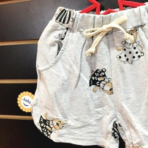 ☆棒棒糖童裝☆(61835)夏女童灰色滿版小兔棉褲 短褲  5-15