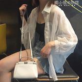 襯衣夏季韓國原宿風寬鬆百搭雪紡衫開衫外塔外套蝙蝠袖防曬衣女 韓小姐