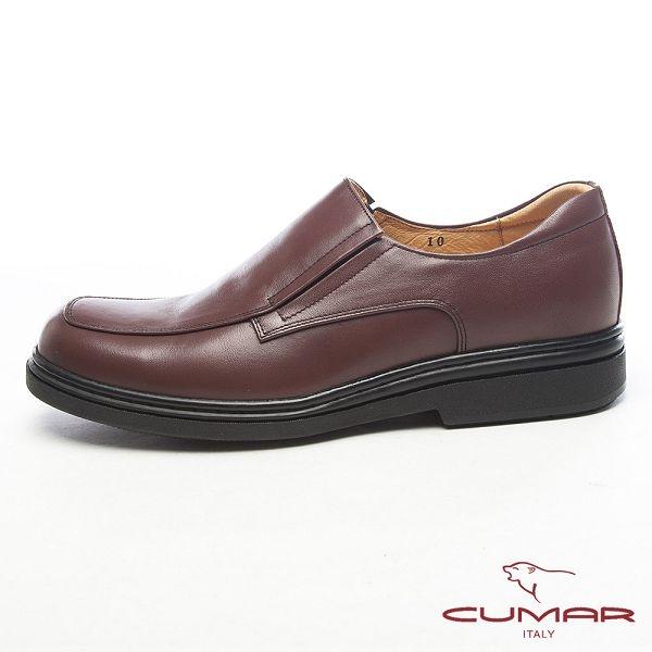 CUMAR都會型男●萬年不敗款牛皮氣墊鞋-咖啡色