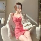 洋裝女愛心波點收腰包臀辣妹吊帶短裙2021夏季新款性感氣質裙子 錢夫人小舖