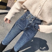 窄管褲2020春季新款超高腰顯瘦彈力薄絨九分牛仔褲女緊身鉛筆小腳褲「芭蕾朵朵」