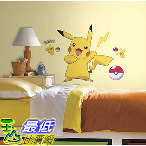 [美國直購] 神奇寶貝 精靈寶可夢周邊 RoomMates RMK2536GM Pokemon Pikachu Peel and Stick Wall Decals