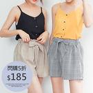 IN' SHOP歐風氣質綁帶格紋短褲-共2色【KT20543】