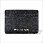 MK MICHAEL KORS MONEY PIECES金字LOGO牛皮5卡卡片夾(黑)